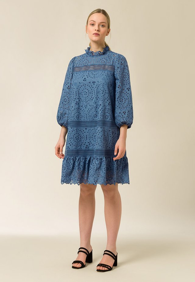 DRESS PUFFY SLEEVES MINI - Day dress - smoked sapphire