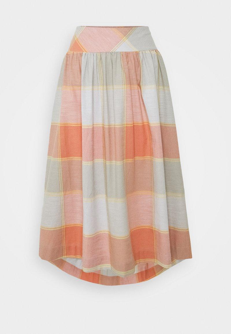 Thought - ALEXA FULL CHECK SKIRT - A-line skirt - clementine orange
