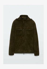 Massimo Dutti - Leather jacket - khaki - 3