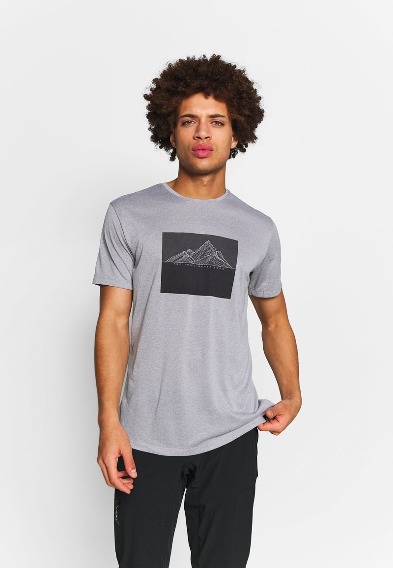 Salomon - AGILE GRAPHIC TEE  - T-Shirt print - alloy/heather
