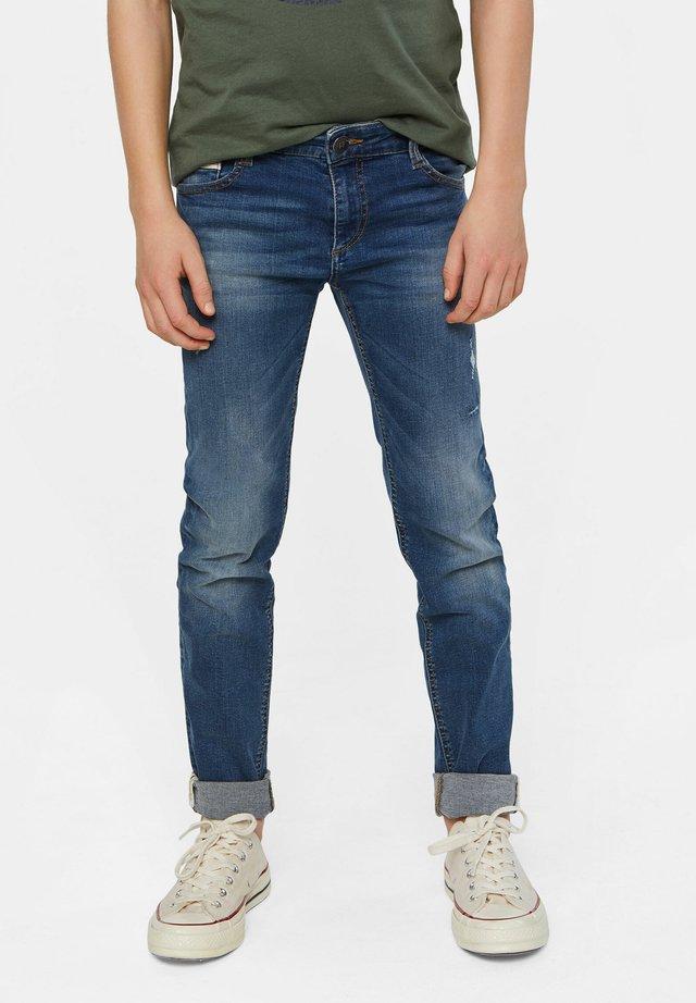 WE FASHION JUNGEN-SUPERSKINNY-JEANS MIT DISTRESSED-DETAILS - Slim fit jeans - dark blue