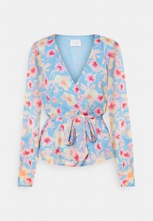 VIAVA TIE BELT WRAP - Long sleeved top - cashmere blue