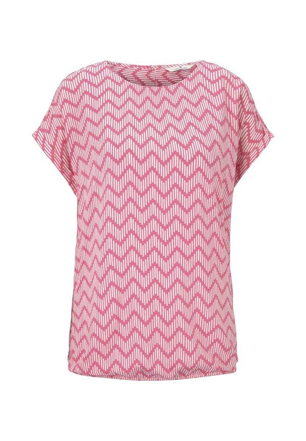 TOM TAILOR BLOUSE PRINTED - Bluzka - pink zick zack design/rÓżowy ANBG