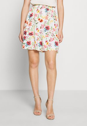 ELASTIC WAIST FLOWY MINI SKIRT - A-line skirt - white/multicolor