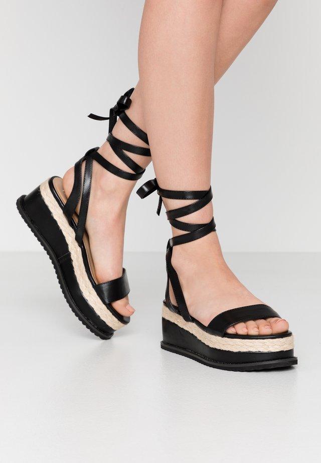 VEGAN FAN - Korkeakorkoiset sandaalit - black