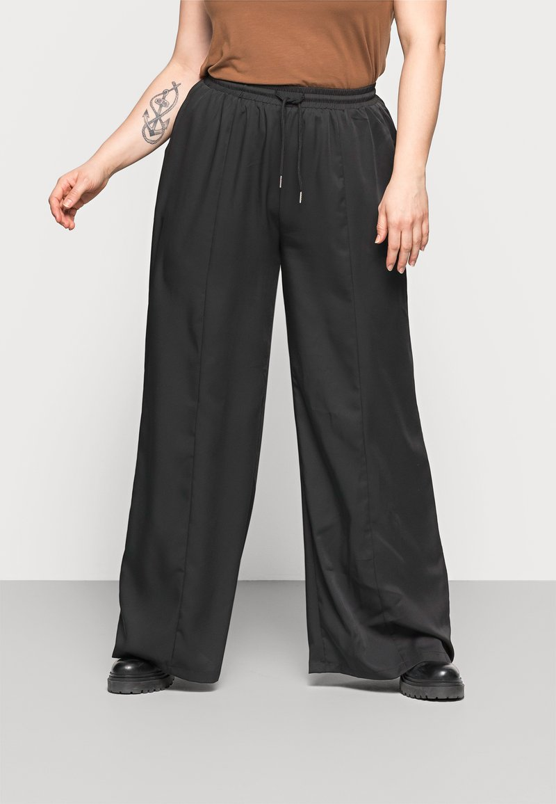 Missguided Plus - WIDE LEG CASUAL TROUSER - Spodnie materiałowe - black