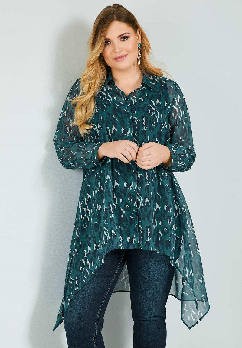 Sara Lindholm by HAPPYsize - Button-down blouse - petrol