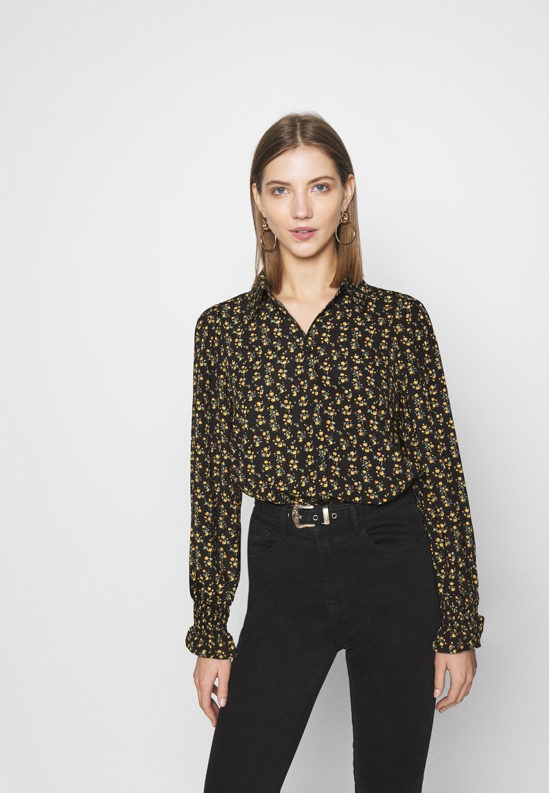 ONLY - ONLJESS SMOCK TOP  - Button-down blouse - black/yellow