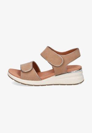 Platform sandals - taupe nubuc