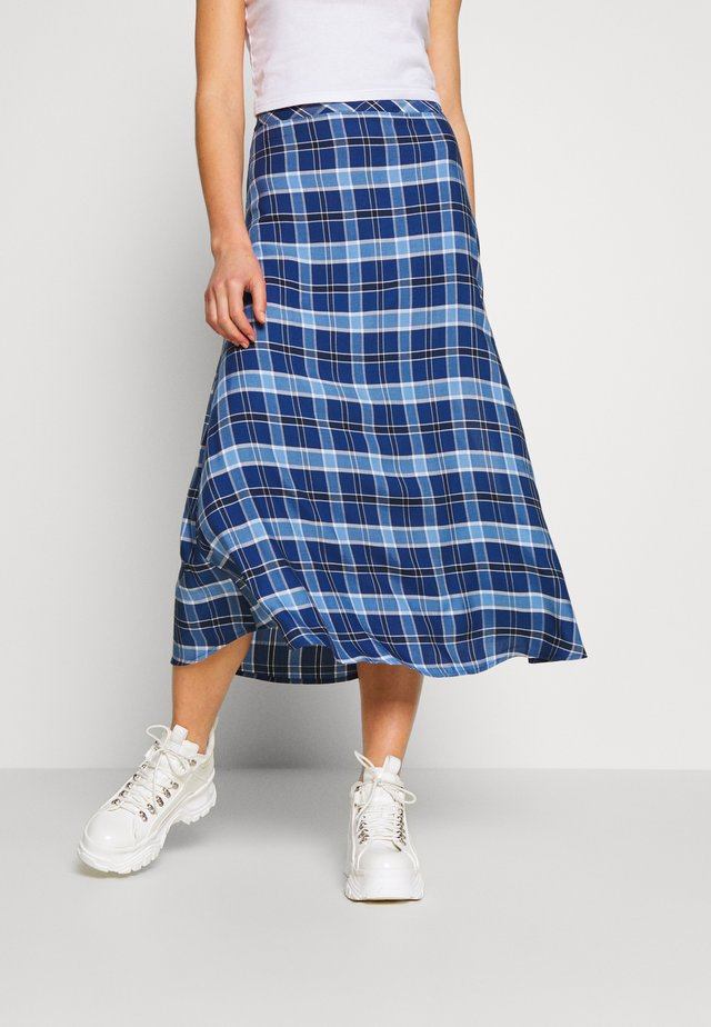 HIGH WAIST SIDE SPLIT MIDI SKIRT - Áčková sukně - blue