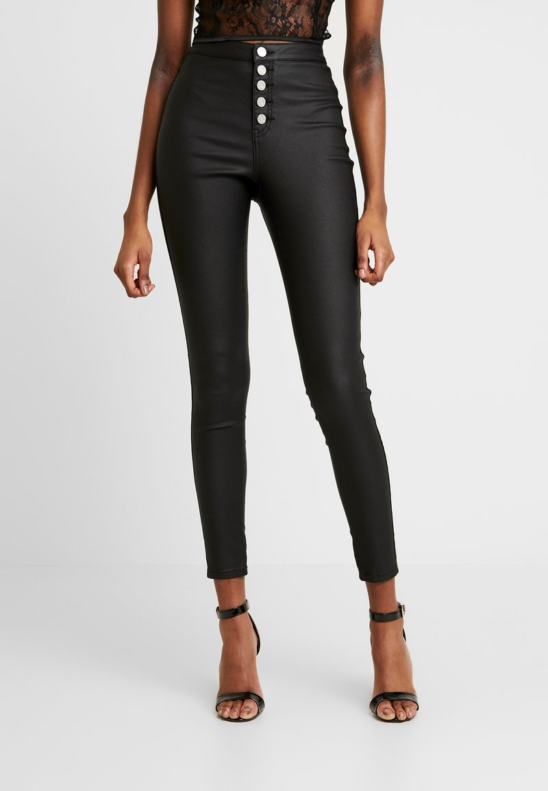 Missguided - VICE HIGH WAISTED BUTTON DETAIL - Jeans Skinny - black