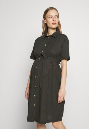 LINEN SHIRT DRESS - Vestido camisero - khaki