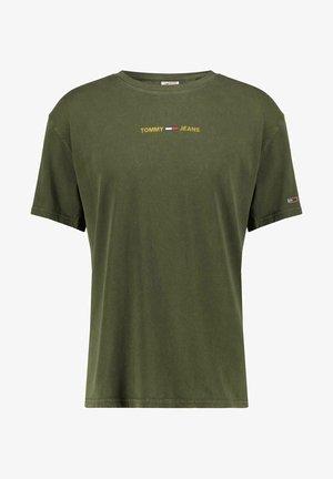 METALLIC LINEAR LOGO TEE - T-shirt con stampa - oliv