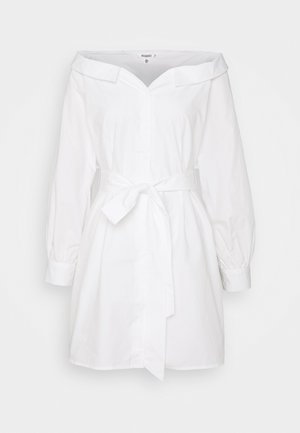 BARDOT BELTED SHIRT DRESS - Skjortekjole - white
