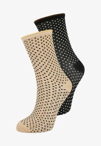 DINA SMALL DOTS 2 PACK - Socks - black/sand