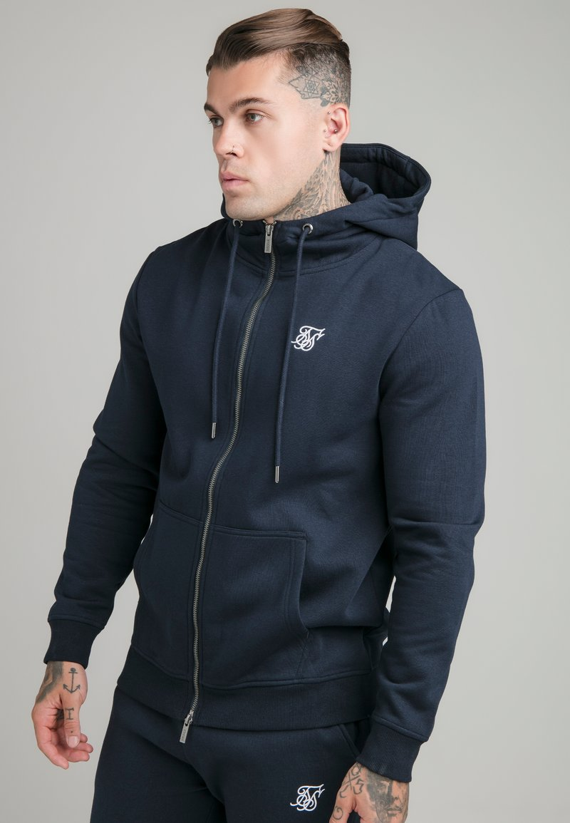 SIKSILK - ZIP THROUGH FUNNEL NECK HOODIE - Felpa aperta - navy