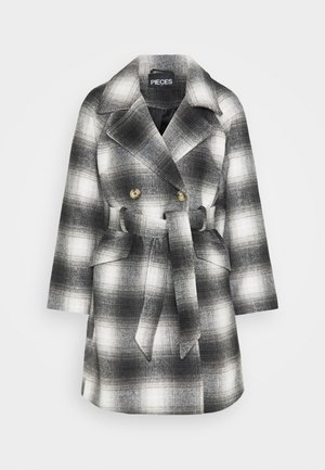 PCSIENA COAT - Abrigo - whitecap gray/brown/mole