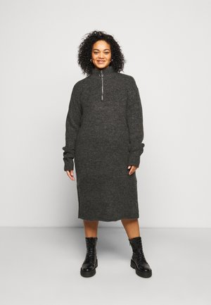 NMDOMINIC KNEE DRESS - Jumper dress - dark grey melange
