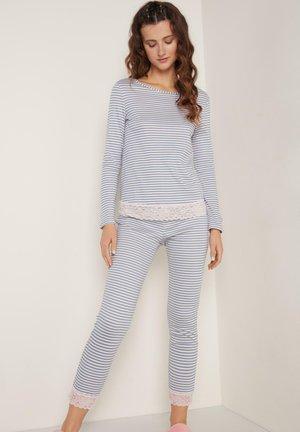 Pyjama set - sky blue/cloud pink stripe print