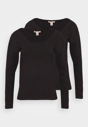 2er pack Scoop neck long sleeve t-shirt - Long sleeved top - black
