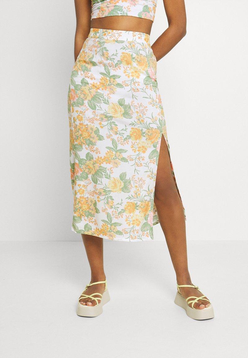Monki - VIVVI SKIRT - Maxi skirt - white/dusty light