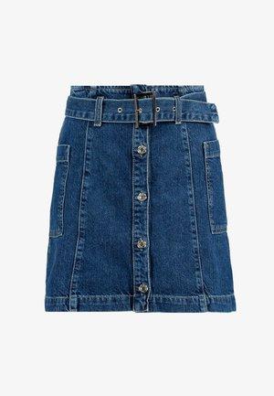 BUTTON BELT SKIRT - Spódnica trapezowa - blue denim