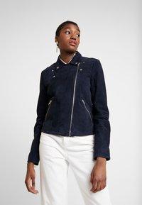 Selected Femme - SLFMARLEN JACKET - Leather jacket - night sky - 0