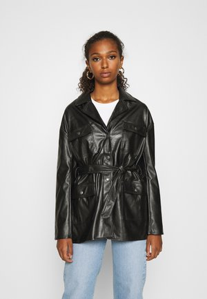 ONLVIBE BELT SHACKET - Faux leather jacket - black