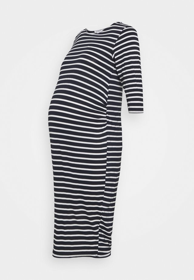 STRIPE DRESS - Žerzejové šaty - navy