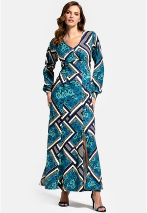 WITH LONG SLEEVES - Maxi dress - teal retro tile