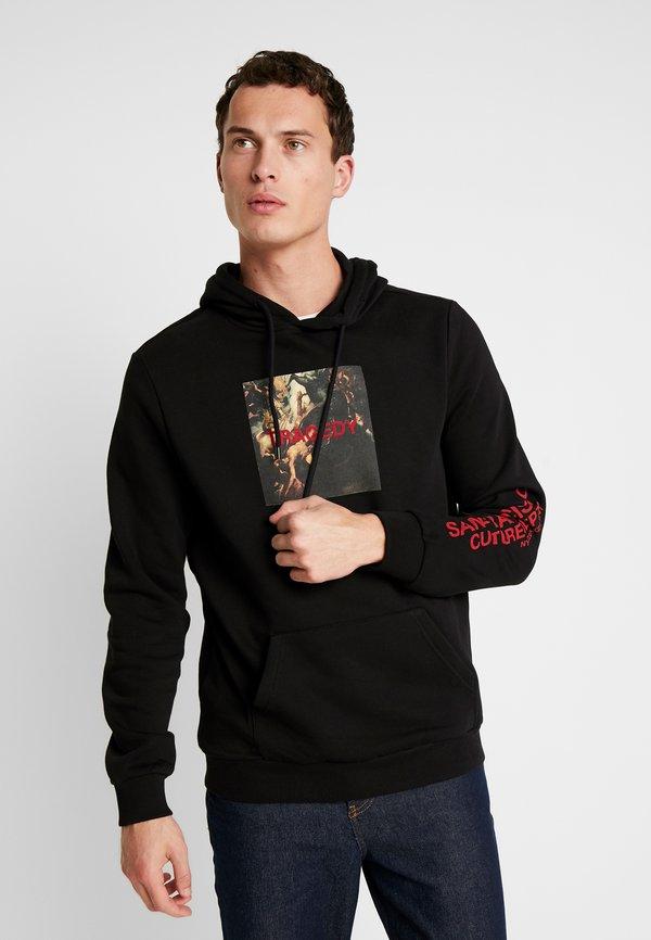 Pier One Bluza z kapturem - black/czarny Odzież Męska ADUW