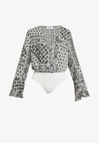 Missguided - FLORAL SCARF PRINT PLUNGE BODYSUIT - Blouse - white - 4
