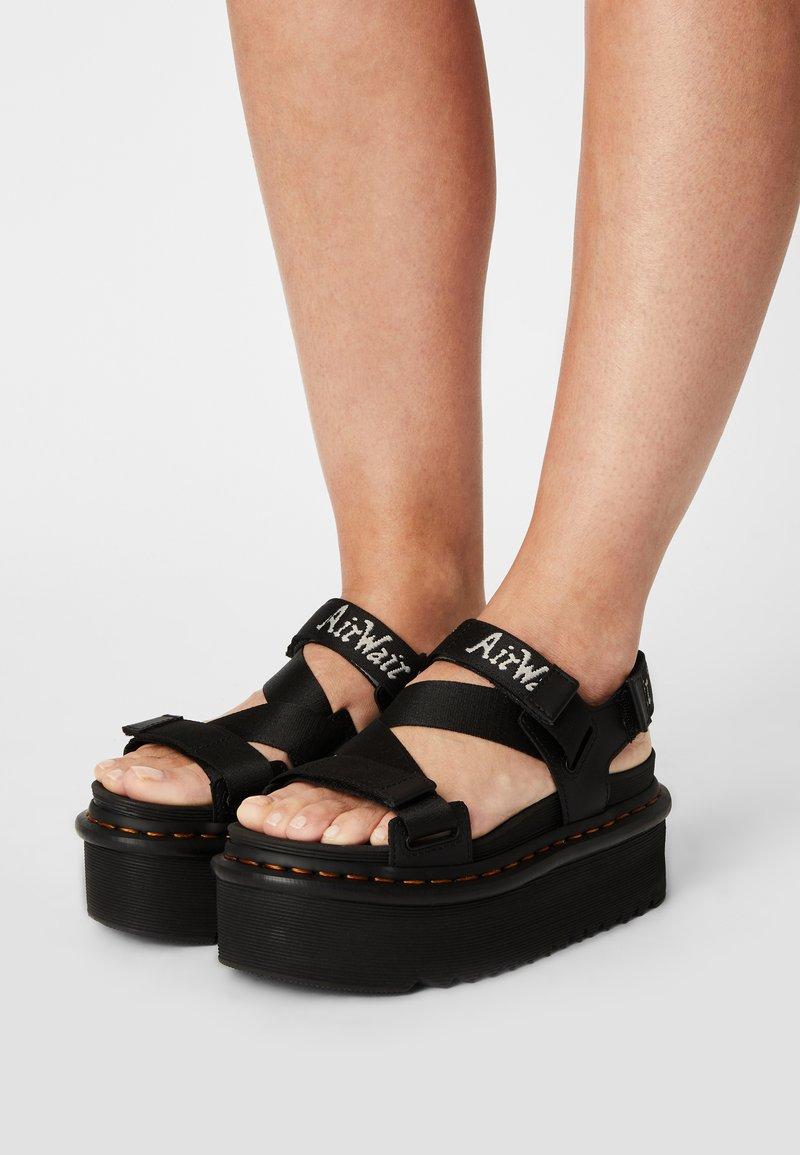 Dr. Martens - KIMBER - Platform sandals - black hydro/white/light grey