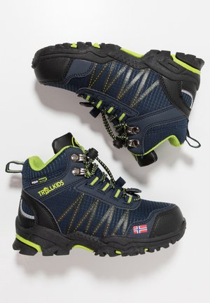 KIDS TROLLTUNGA MID UNISEX - Hiking shoes - navy/viper green