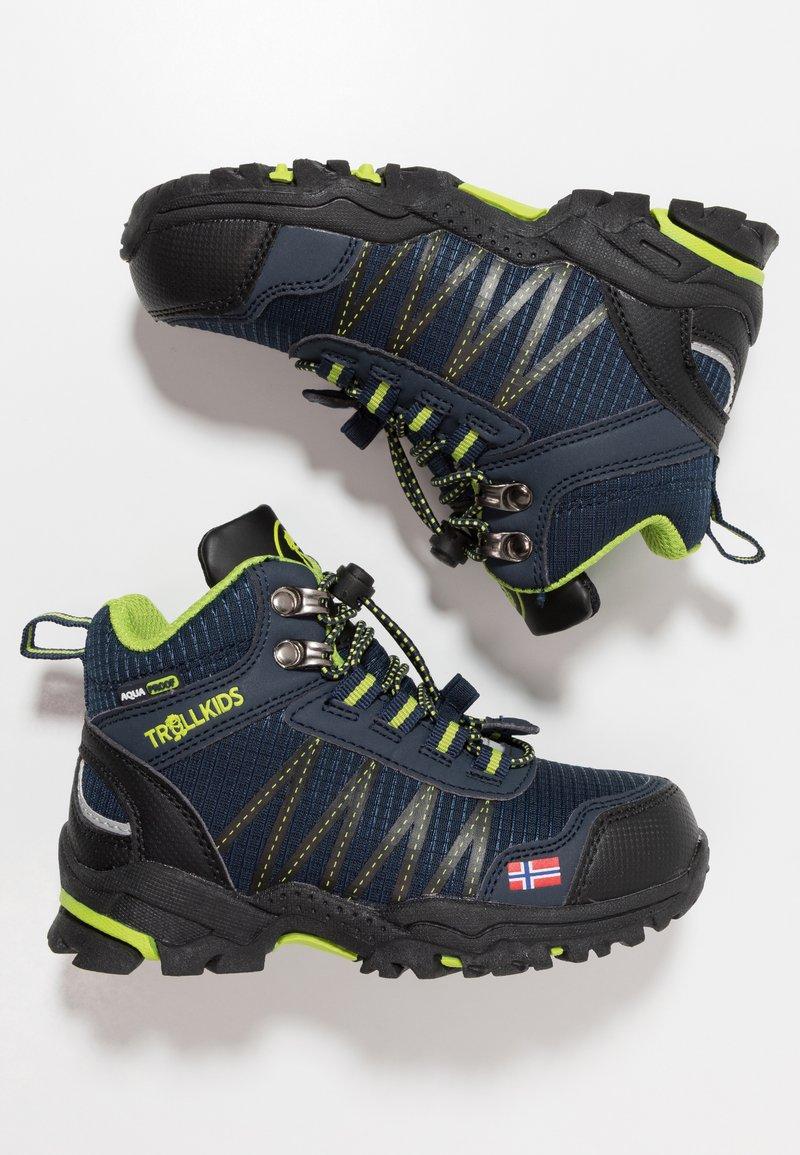 TrollKids - KIDS TROLLTUNGA MID UNISEX - Hiking shoes - navy/viper green