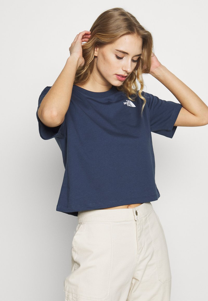 The North Face - CROPPED SIMPLE DOME TEE - T-shirt imprimé - blue wing teal
