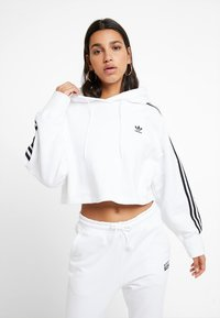 adidas Originals - ADICOLOR CROPPED HODDIE SWEAT - Hoodie - white - 0
