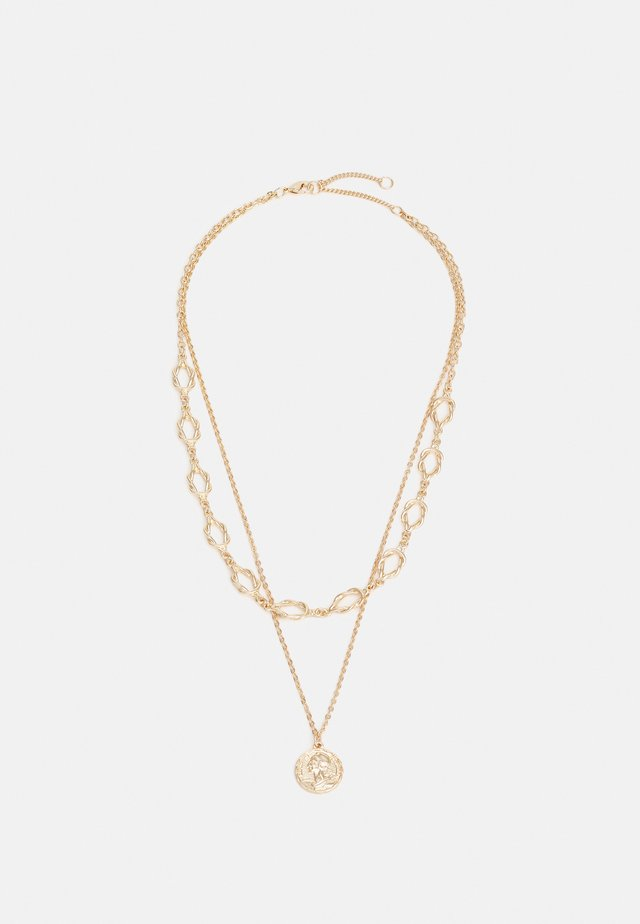 NECKLACE LAYER KNOT AND COIN - Náhrdelník - gold-coloured