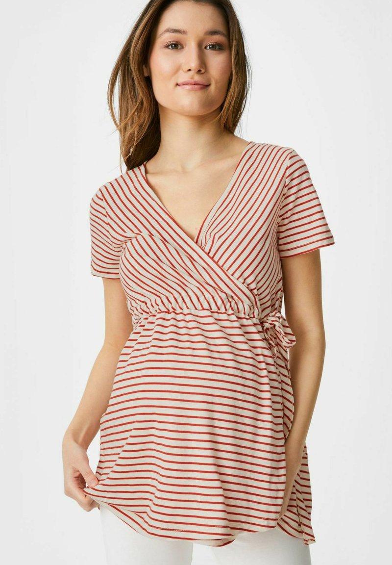C&A - Print T-shirt - red/cremewhite