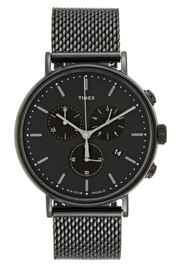 FAIRFIELD CHRONOGRAPH 41 mm MESH - Hodinky se stopkami - black/black
