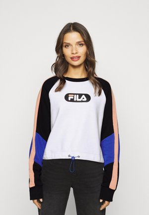 BANE BLOCKED CROPPED CREW  - Sweatshirt - black/bright white/coral cloud/dazzling blue