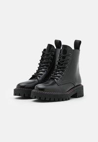 LÄST - PAINT BOOT - Lace-up ankle boots - black - 2