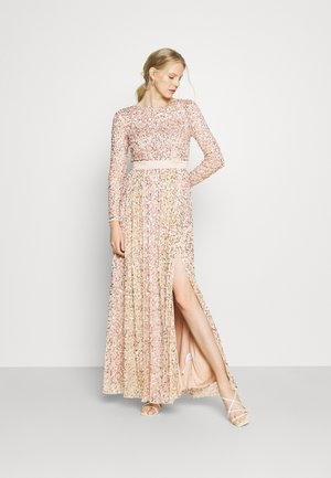 ALL OVER EMBELLISHED MAXI WITH THIGH SPLIT - Robe de cocktail - taupe blush