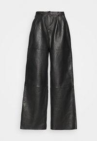 Deadwood - PINE PANTS - Leather trousers - black - 5