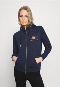 GANT - ARCHIVE SHIELD FULL ZIP HOODIE - Zip-up hoodie - evening blue - 0