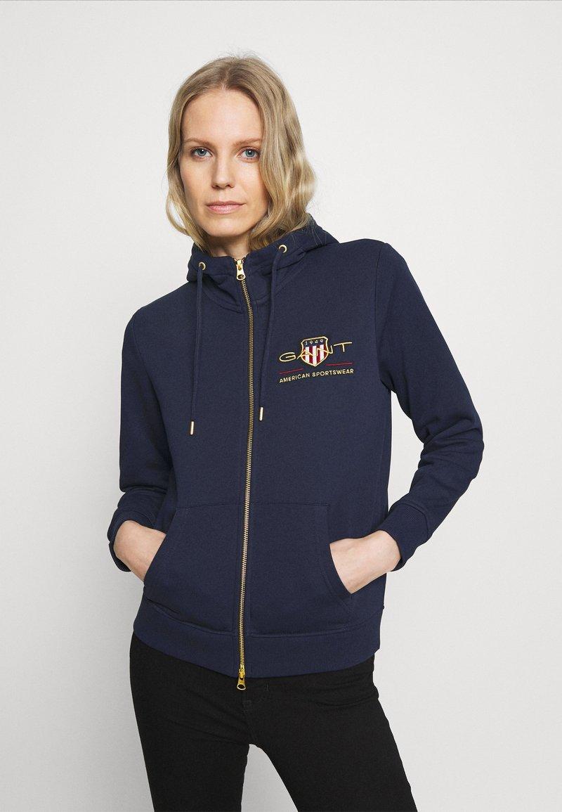 GANT - ARCHIVE SHIELD FULL ZIP HOODIE - Zip-up hoodie - evening blue