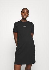 Calvin Klein Jeans - MICRO BRANDING DRESS - Jersey dress - black - 0