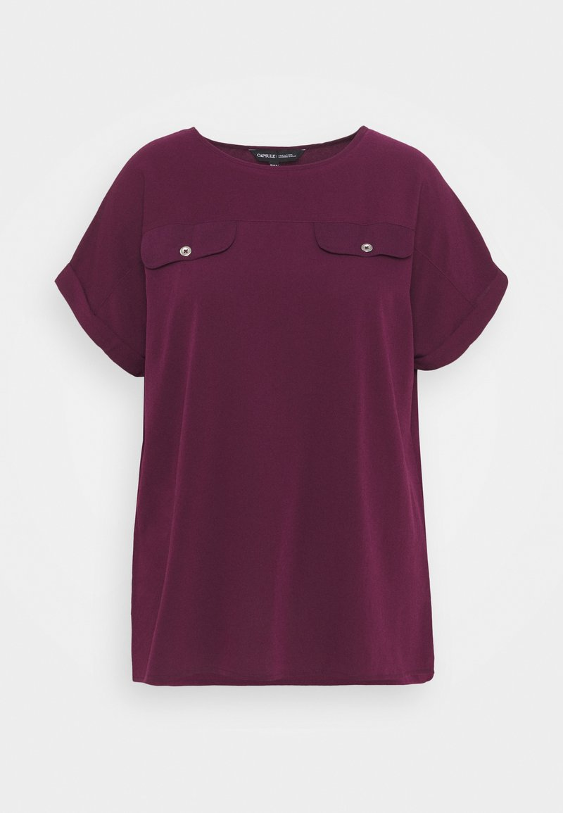 CAPSULE by Simply Be - UTILITY BOXY - Print T-shirt - aubergine