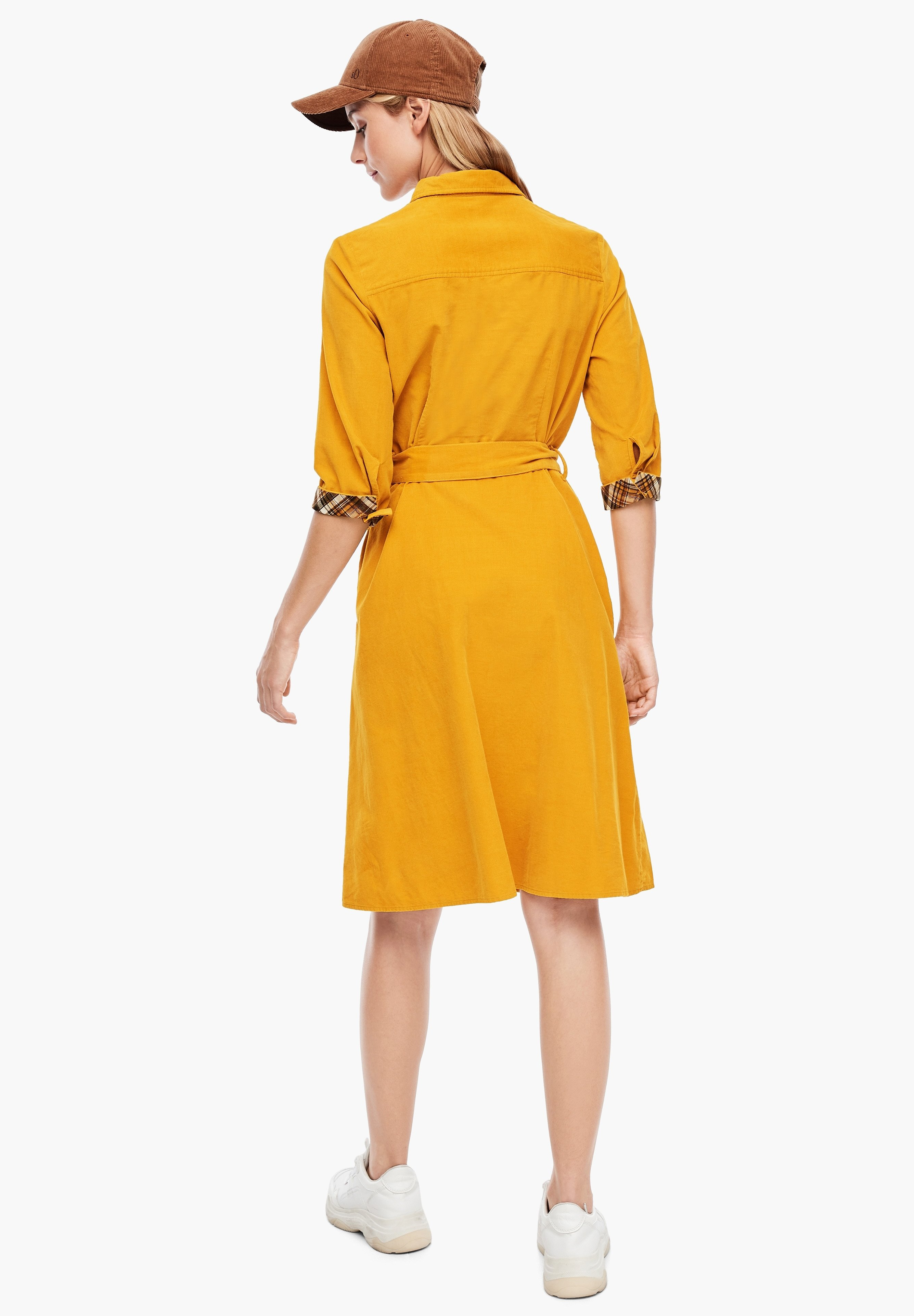s.Oliver MIT CHECKDETAIL Blusenkleid yellow/dunkelgelb