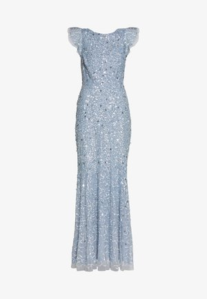 DIP BACK ALL OVER SEQUIN MAXI DRESS - Robe de cocktail - dusty blue